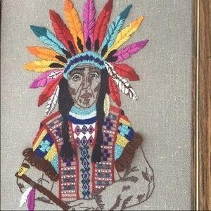 Vtg large crewel embroidery Indian boho